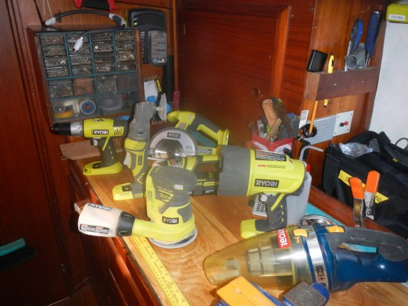 All our Ryobi tools. So far. Also note the 12 volt charger mounted on the bulkhead.