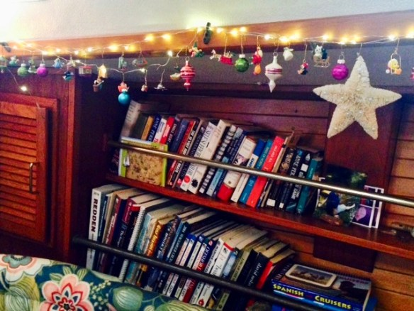 My collection of miniature ornaments makes perfect holiday boat decor.