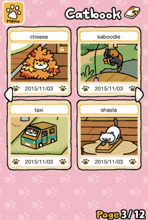 The scrapbook logs kitty visitors' favorite toys, how many times they've visited, and all of the player's photos. Players can name the cats, too!