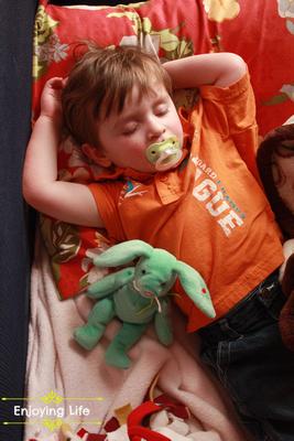 "Little-d-Tales: Enjoying Life &emdash; Napping with ""Jack"" (his rabbit)"