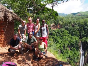 The hiking crew at Manchewe Falls, Livingstonia