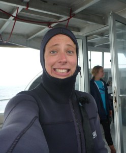 Pre-shark cage dive scared face