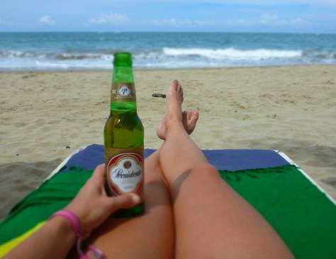 Relaxing with a beer at Cabarete Beach