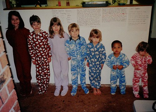 Large family. Stair step kids in Land's End pajamas.