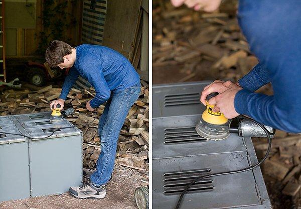 how to paint metal lockers DIY