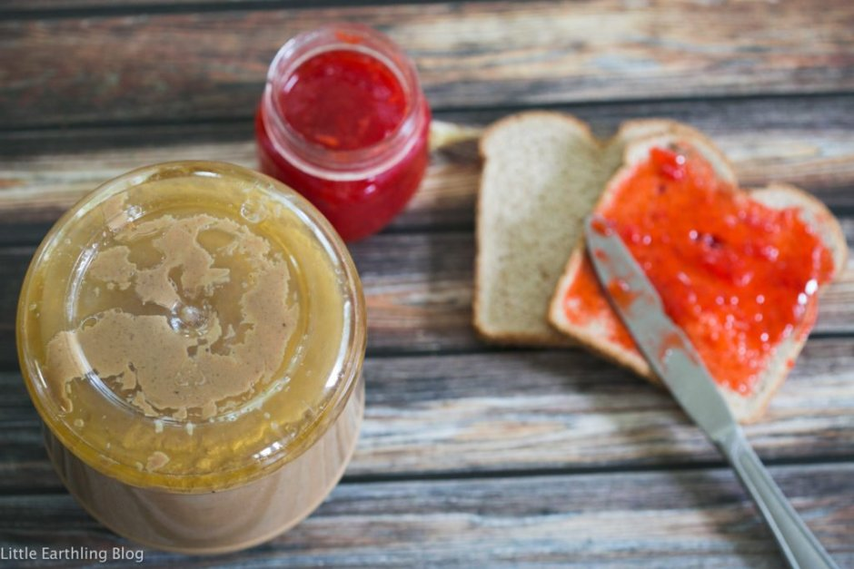 Make natural peanut butter easier to stir by storing it upside down. Large family kitchen hacks.