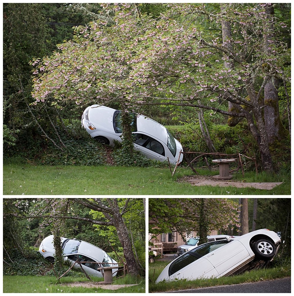 We awoke on Mother's Day to find a car in our creek!