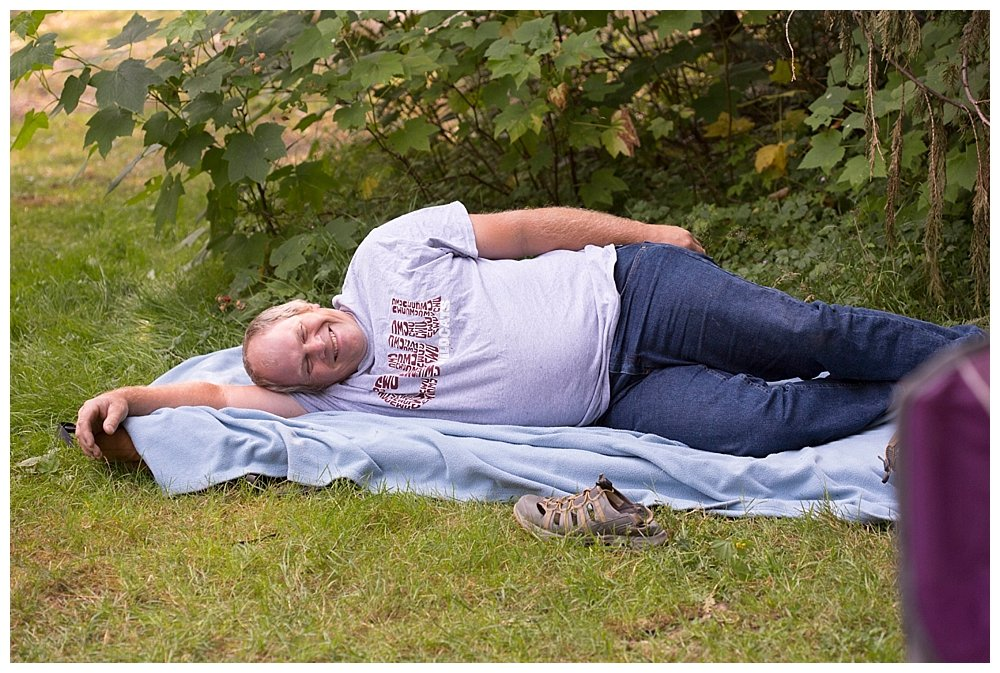 Chuck napping at the church campout.