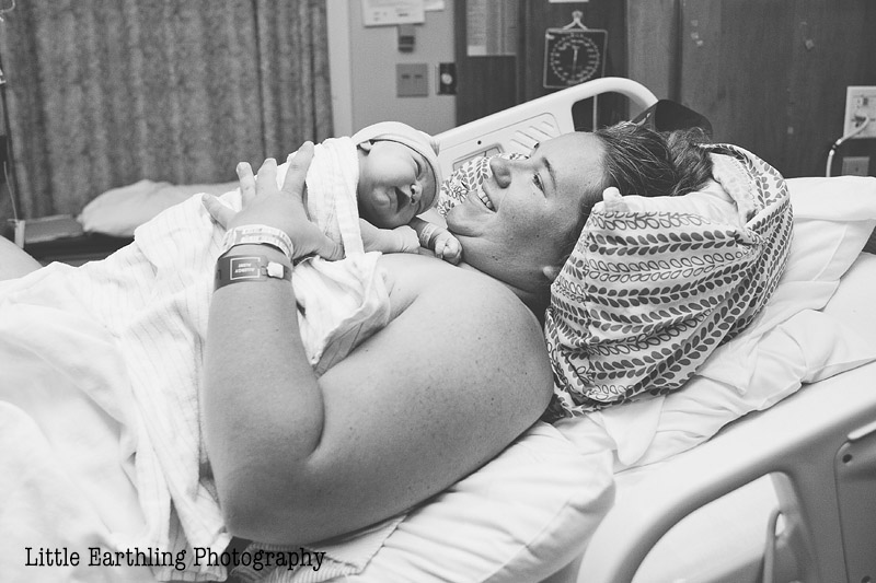 mom and newborn baby in hospital