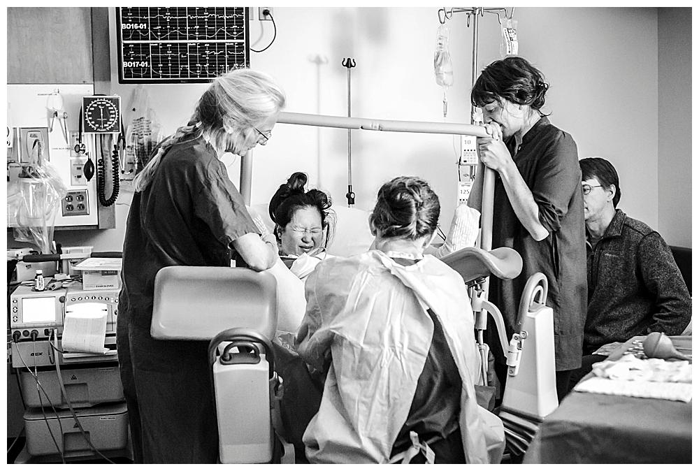 Bellingham birth photographer, Renee Bergeron, captures the beauty of birth at St. Joseph's Hospital.