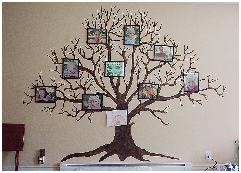 Large family photo wall on display during homebirth.