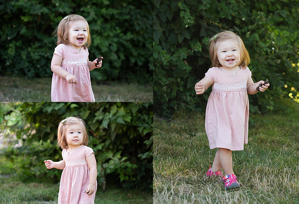 Umi having fun at her milestone session in Hovander Park. Little Earthling Photography.