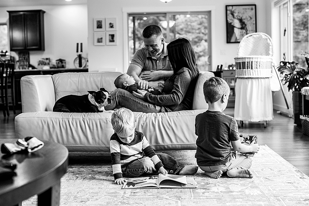 In-home portrait session. Family of five with newborn. Bellingham lifestyle photographer.