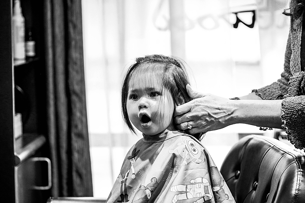Erin was shocked by the hair dry. Her expression was priceless!