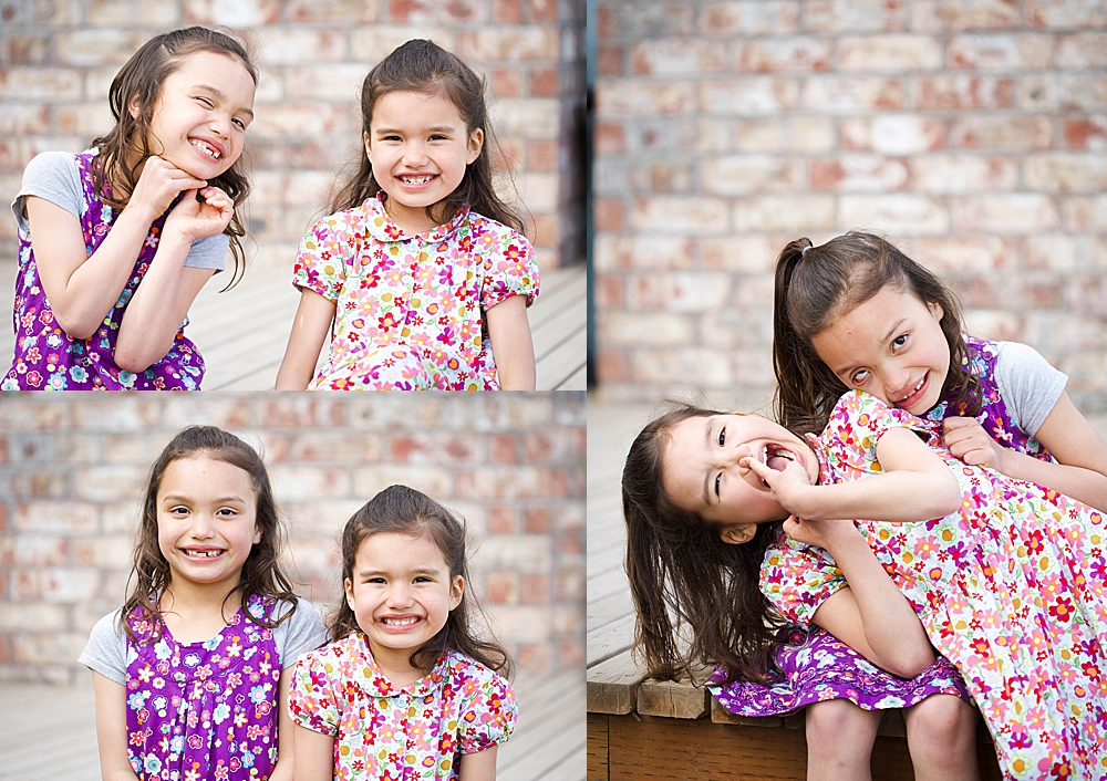 Two silly sisters posing for the camera.