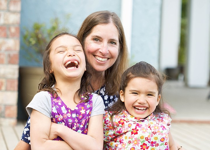 Mom and daughters laughing during photosession. Little Earthling Photography Bellingham, WA