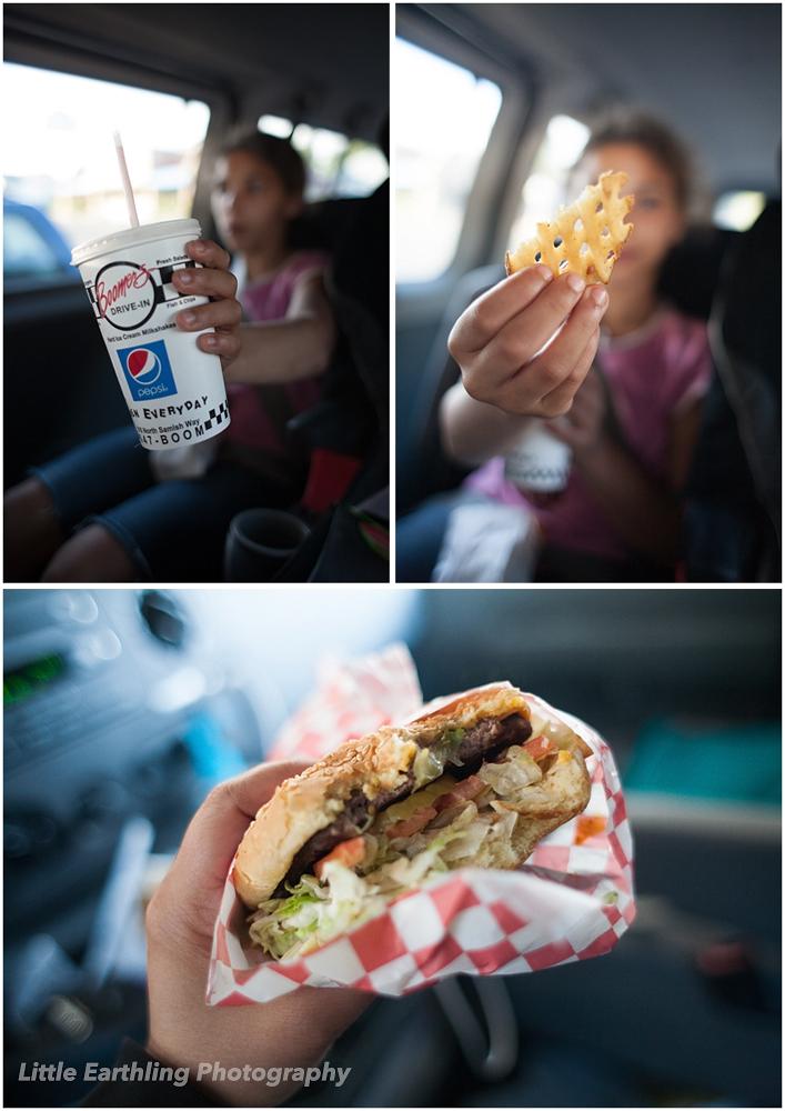 hamburger, shake and fries at Boomer's Drive-In