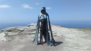 King Arthur statue at Tintagel Castle.
