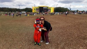 Auntie Ruthie and Noah in front of the Main Stage at Leeds Festival.
