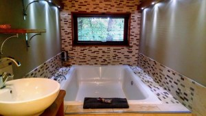 Bath tub in the Golden oak hideaway at Forest Holidays.