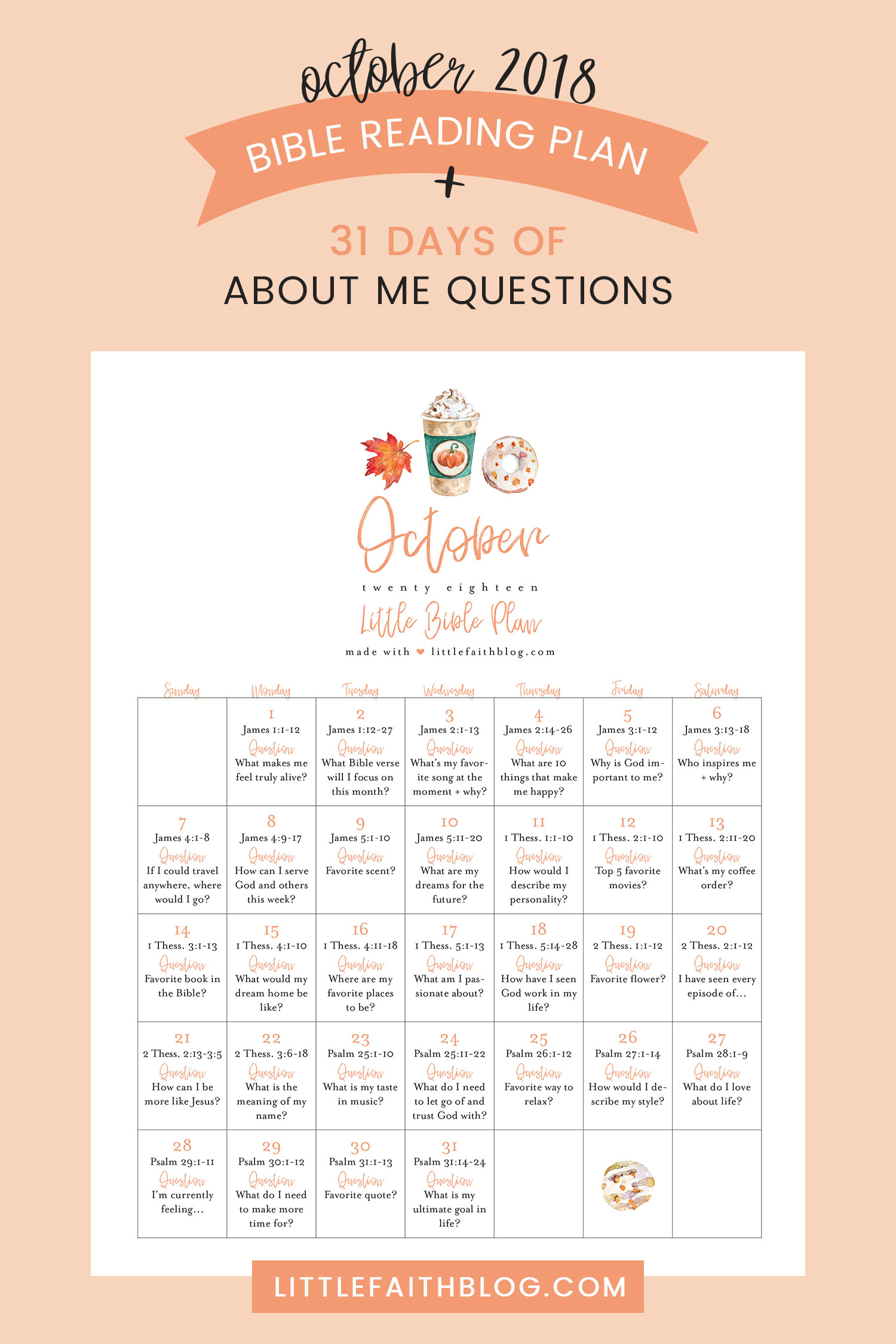October Bible Reading Plan 31 About Me Questions To Answer In Your Bible Or Journal