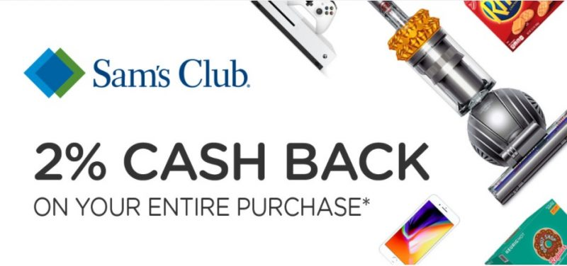 earn 2 percent cash back by shopping at SAMS