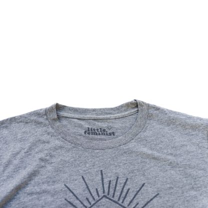 Raising Little Feminists grey men's shirt inside label