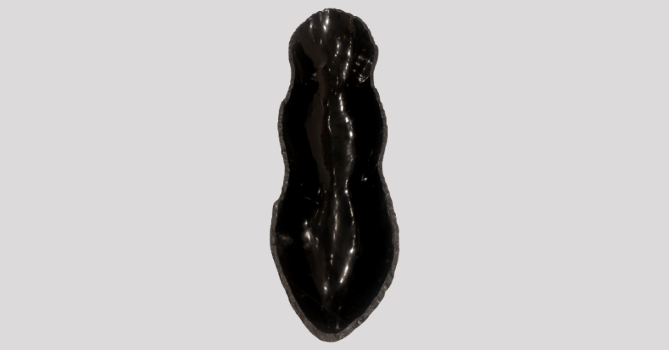 black chiseled onyx bowl vertical view