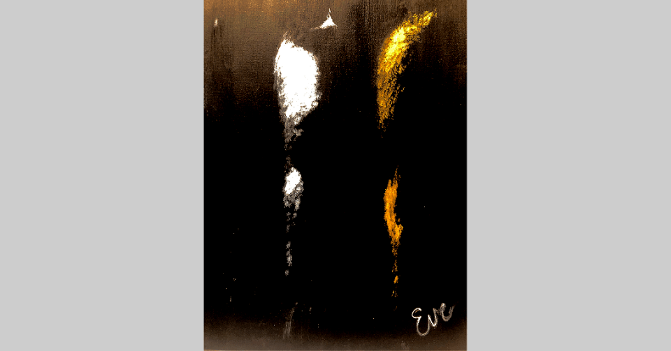 detail with artist signature of three nudes black and white painting