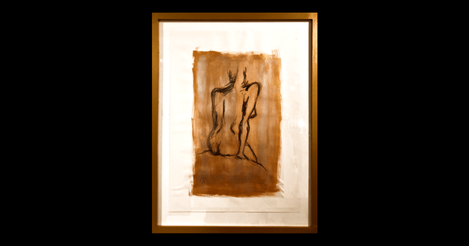 gold sitting nude painting