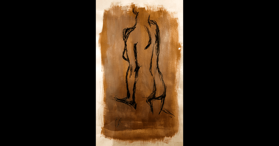detail of gold standing nude painting