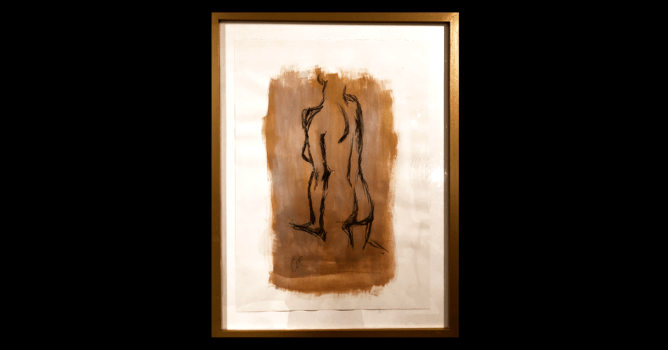 gold standing nude painting