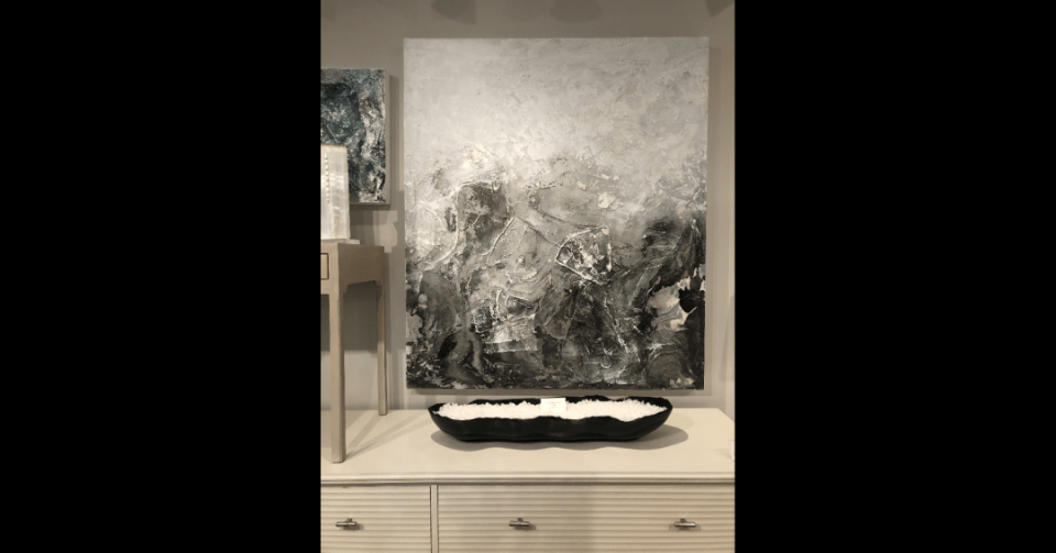 abstract black and grey painting in showroom