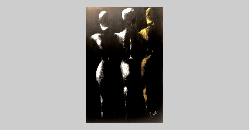 three nudes black and white painting