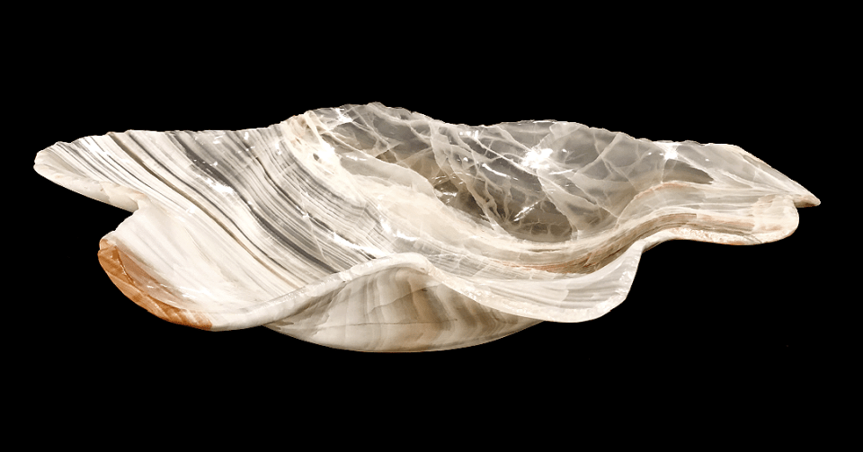 clear white taupe onyx bowl horizontal view