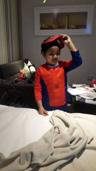 More presents and spoils at arrival in Durban....Muhammad's favourite Superhero is Spiderman