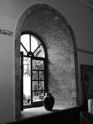 Arched interior courtyard window.