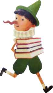 Smart Pinocchio with Books