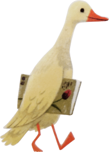 Duck is carrying Books
