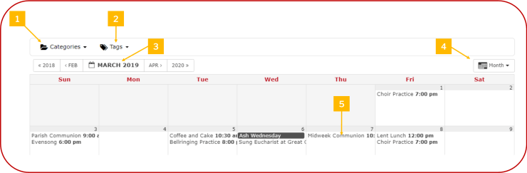 Example of monthly view of calendar