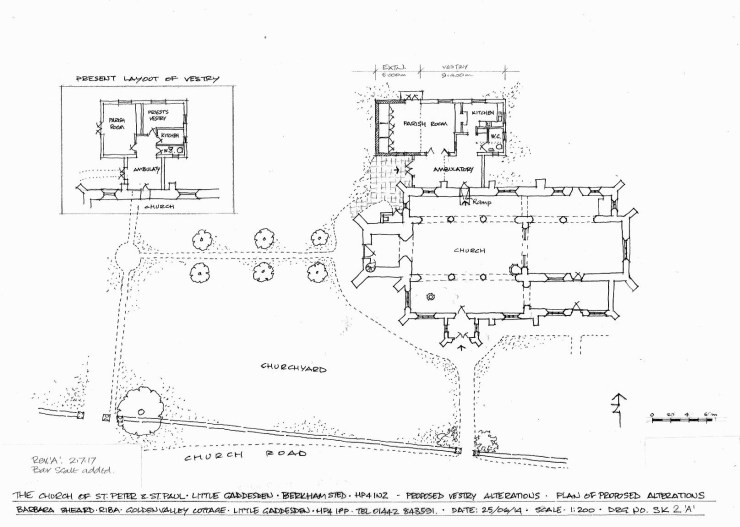 Plan of the church showing the proposed vestry alterations