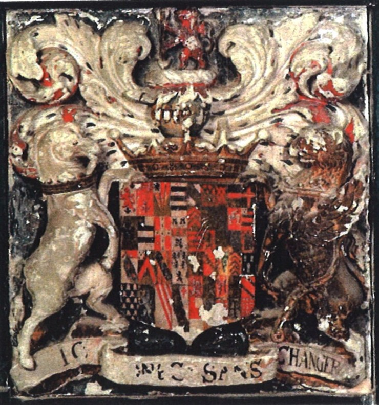 The arms of the second Earl's mother, Frances Stanley, first Countess of Bridgwate