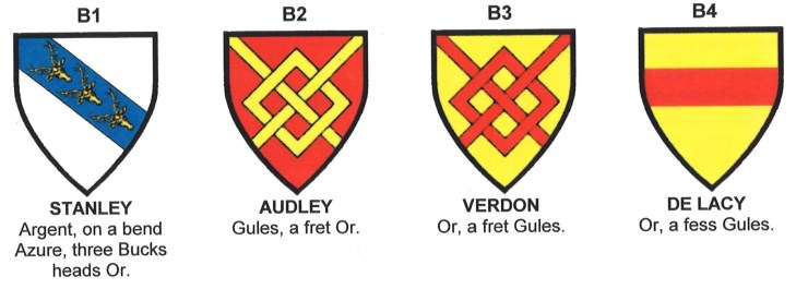 Arms of Stanley, Audley, Verdon and de Lacy