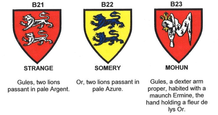 Arms of Strange, Somery and Mohun