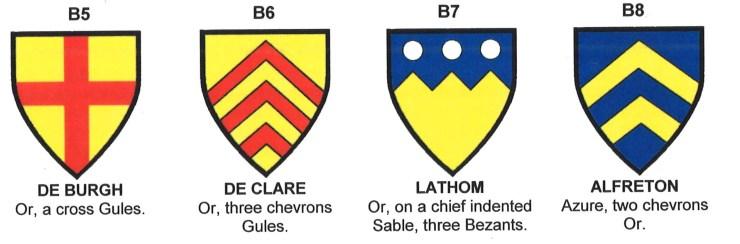 Arms of de Burgh, de Clare, Lathom, and Alfreton.