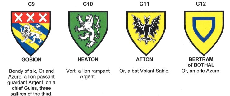 Arms of Gobion, Heaton, Atton and Bertram of Bothal