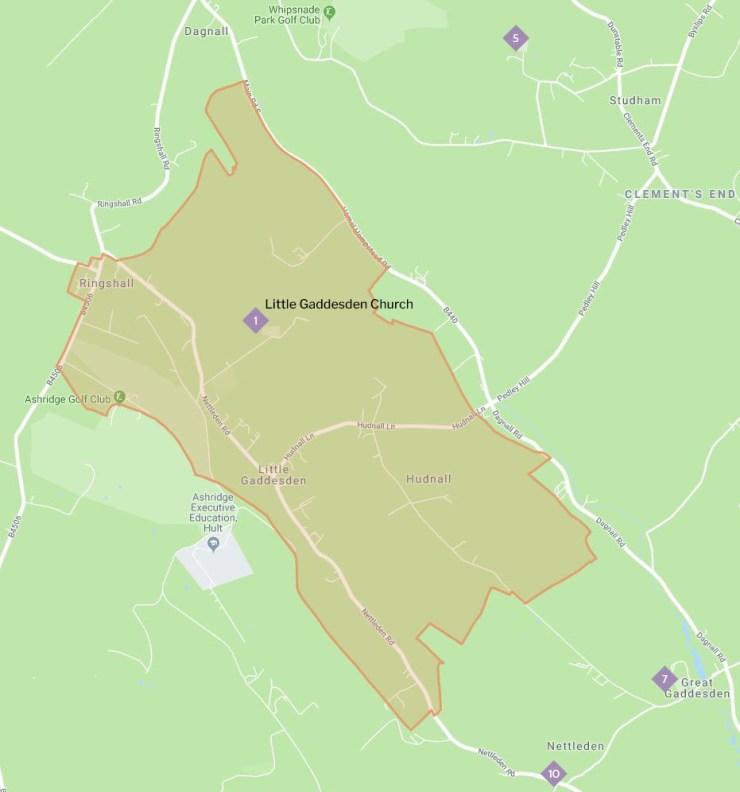 Map of Little Gaddesden parish boundary