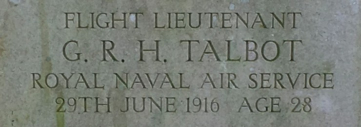 Detail of photo of Geoffrey Talbot's grave