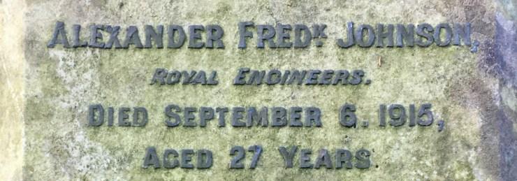 Photo of Alexander Johnson's gravestone (detail)