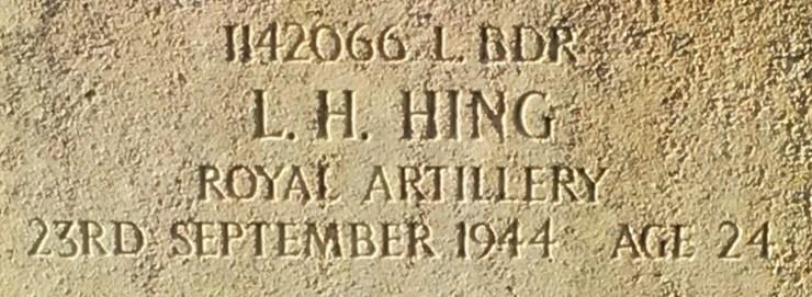 Photo of Leonard Hing's headstone (detail)
